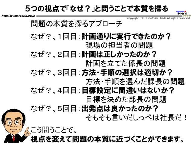 5つの視点で「なぜ?」と問うことで本質を探る http://www.teoria.co.jp copyright (C) Hidetoshi Ikeda All rights reserved 問題の本質を探るアプローチ なぜ?、1回目:計画通...