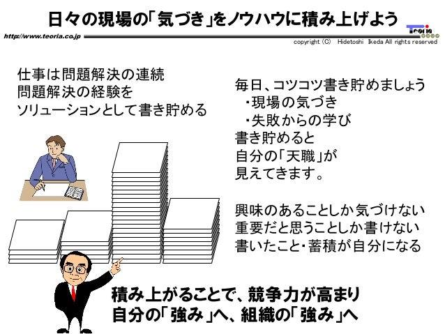 日々の現場の「気づき」をノウハウに積み上げよう http://www.teoria.co.jp copyright (C) Hidetoshi Ikeda All rights reserved 積み上がることで、競争力が高まり 自分の「強み」...