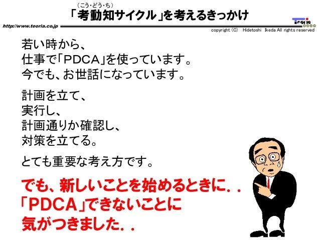 「考動知サイクル」を考えるきっかけ http://www.teoria.co.jp copyright (C) Hidetoshi Ikeda All rights reserved (こう・どう・ち) 若い時から、 仕事で「PDCA」を使って...