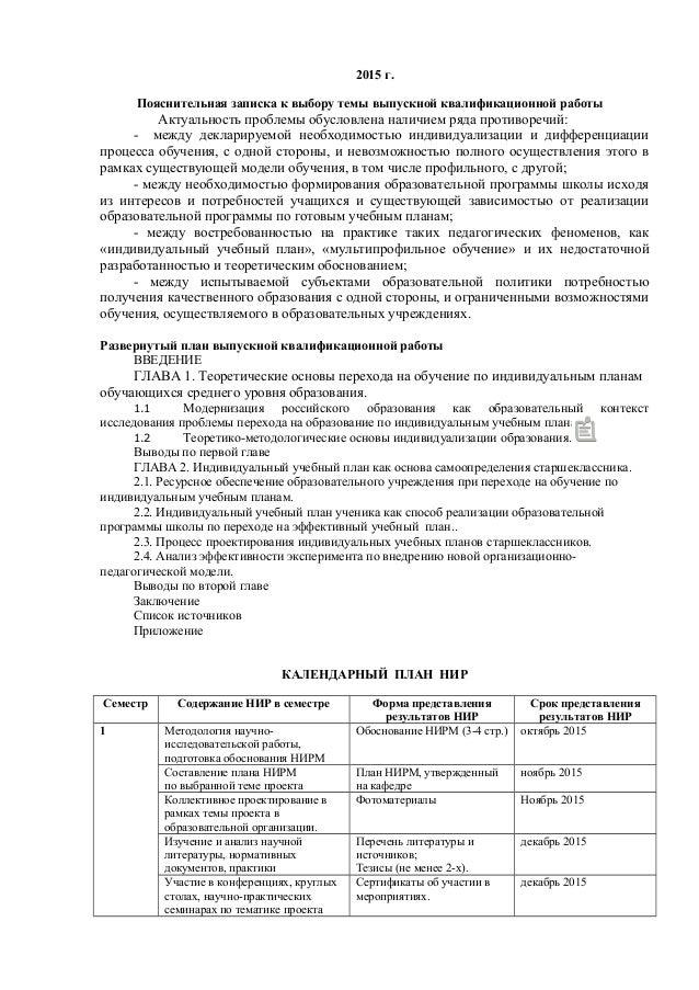 индивидуальный план нирм Москва 2 2015 г Пояснительная записка