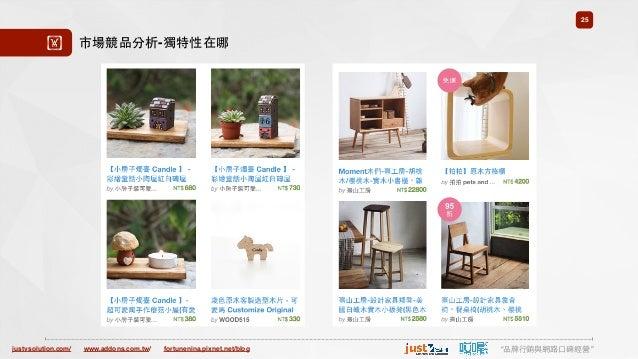 "justvsolution.com/ ""品牌⾏行銷與網路⼝口碑經營""www.addons.com.tw/ fortunenina.pixnet.net/blog 25 ! 市場競品分析-獨特性在哪"