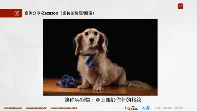 "justvsolution.com/ ""品牌⾏行銷與網路⼝口碑經營""www.addons.com.tw/ fortunenina.pixnet.net/blog 27 ! 案例分享-Zazazoo(獨特的資源/關係) 讓你與寵物,穿上屬於你們的..."