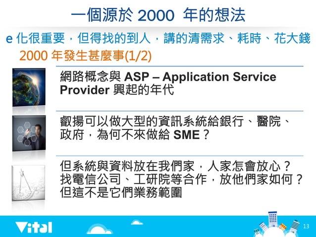 一個源於 2000 年的想法 網路概念與 ASP – Application Service Provider 興起的年代 叡揚可以做大型的資訊系統給銀行、醫院、 政府,為何不來做給 SME? 但系統與資料放在我們家,人家怎會放心? 找電信公司...