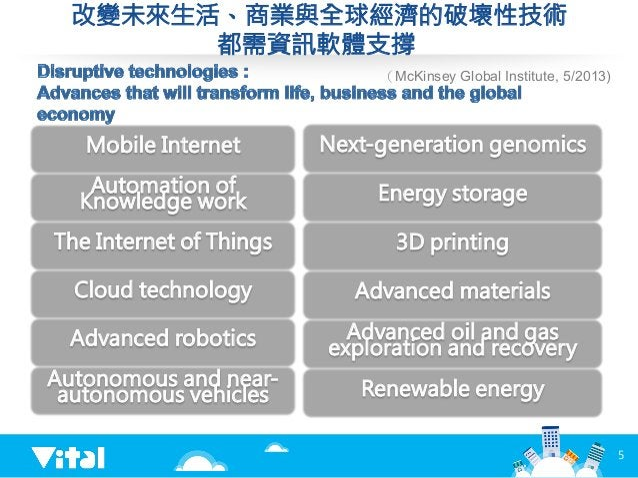 改變未來生活、商業與全球經濟的破壞性技術 都需資訊軟體支撐 5 Mobile Internet Automation of Knowledge work The Internet of Things Cloud technology Advan...