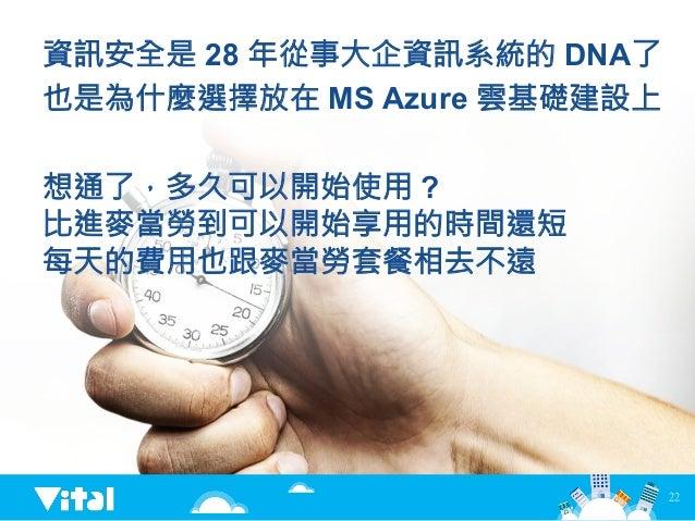 22 資訊安全是 28 年從事大企資訊系統的 DNA了 也是為什麼選擇放在 MS Azure 雲基礎建設上 想通了,多久可以開始使用 ? 比進麥當勞到可以開始享用的時間還短 每天的費用也跟麥當勞套餐相去不遠