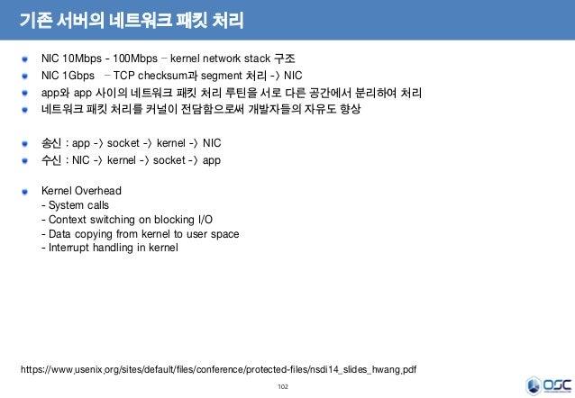 102 기존 서버의 네트워크 패킷 처리 NIC 10Mbps - 100Mbps – kernel network stack 구조 NIC 1Gbps – TCP checksum과 segment 처리 -> NIC app와 app ...