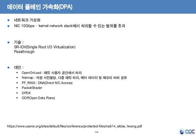 104 데이터 플레인 가속화(DPA) 네트워크 가상화 NIC 10Gbps – kernel network stack에서 처리할 수 있는 범위를 초과 기술 : SR-IOV(Single Root I/O Virtualizati...
