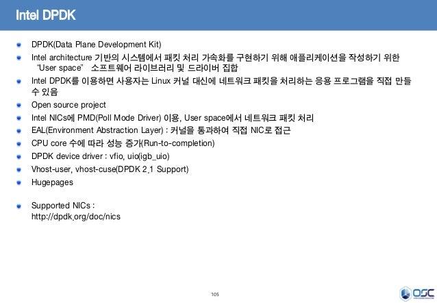 "105 Intel DPDK DPDK(Data Plane Development Kit) Intel architecture 기반의 시스템에서 패킷 처리 가속화를 구현하기 위해 애플리케이션을 작성하기 위한 ""User spac..."