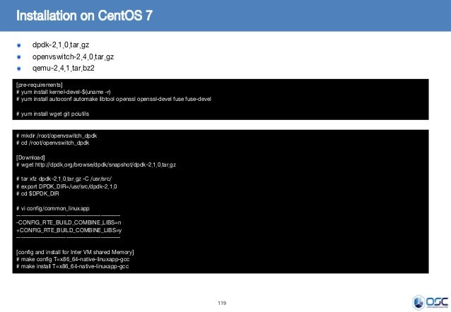 119 dpdk-2.1.0.tar.gz openvswitch-2.4.0.tar.gz qemu-2.4.1.tar.bz2 Installation on CentOS 7 [pre-requirements] # yum instal...