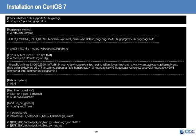 120 Installation on CentOS 7 [hugepages setting] # vi /etc/default/grub --------------------------------------------------...