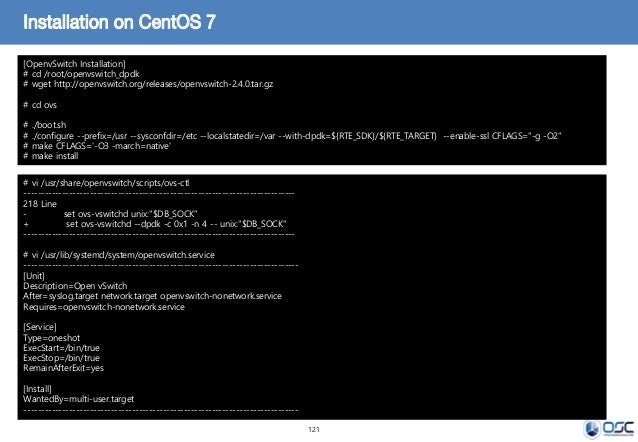 121 Installation on CentOS 7 [OpenvSwitch Installation] # cd /root/openvswitch_dpdk # wget http://openvswitch.org/releases...