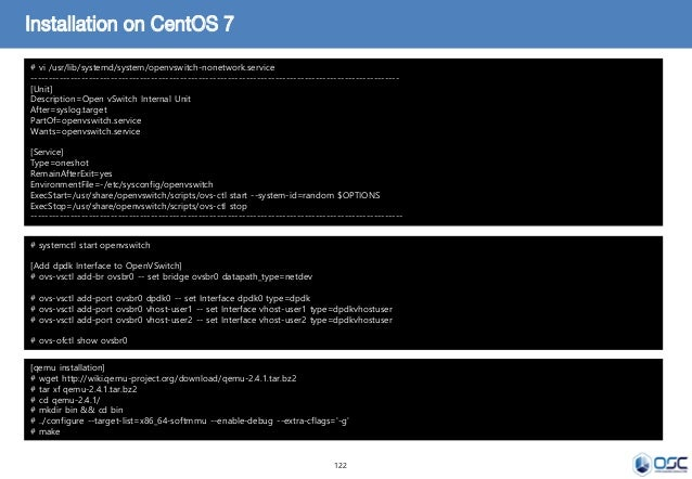 122 Installation on CentOS 7 # vi /usr/lib/systemd/system/openvswitch-nonetwork.service ----------------------------------...