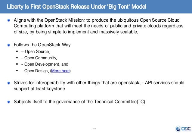 17 Aligns with the OpenStack Mission: to produce the ubiquitous Open Source Cloud Computing platform that will meet the ne...