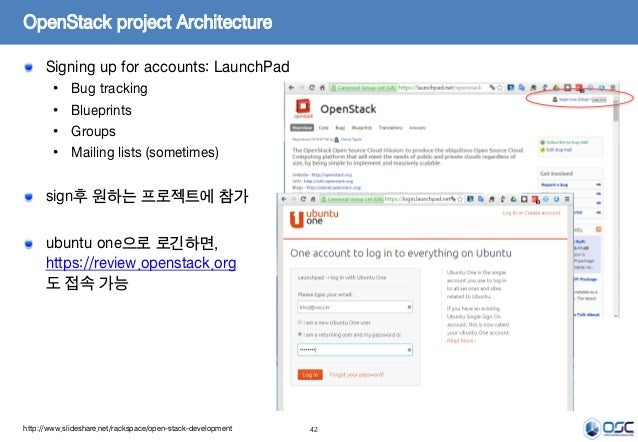 42 OpenStack project Architecture Signing up for accounts: LaunchPad • Bug tracking • Blueprints • Groups • Mailing lists ...