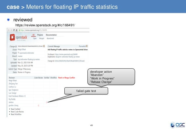 49 case > Meters for floating IP traffic statistics reviewed https://review.openstack.org/#/c/166491/ failed gate test dev...