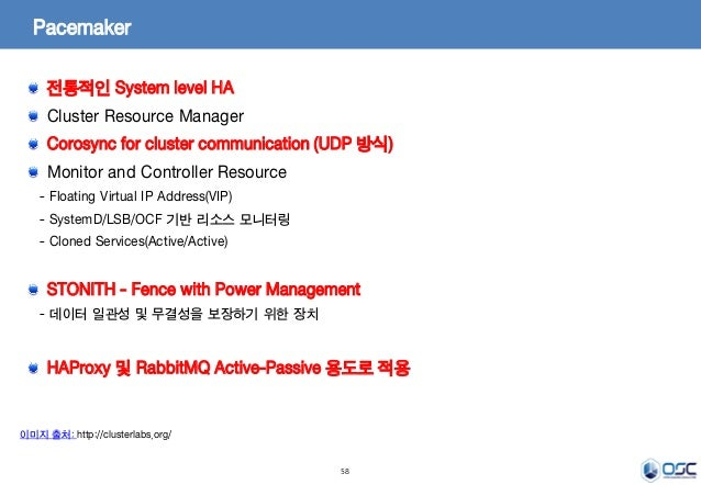 58 Pacemaker 이미지 출처: http://clusterlabs.org/ 전통적인 System level HA Cluster Resource Manager Corosync for cluster communicat...