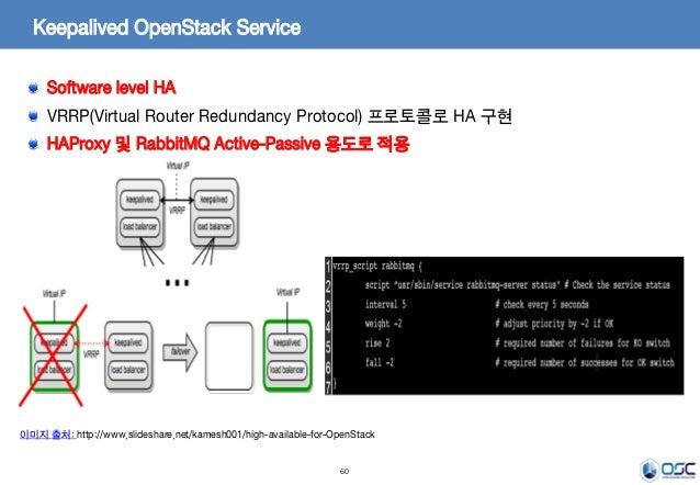 60 Keepalived OpenStack Service Software level HA VRRP(Virtual Router Redundancy Protocol) 프로토콜로 HA 구현 HAProxy 및 RabbitMQ ...