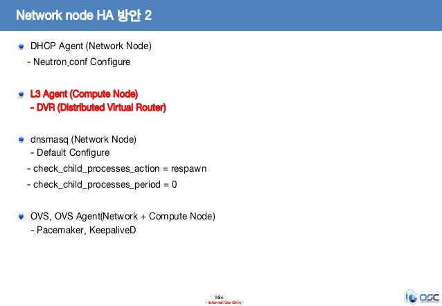 8686 - Internal Use Only - Network node HA 방안 2 DHCP Agent (Network Node) - Neutron.conf Configure L3 Agent (Compute Node)...