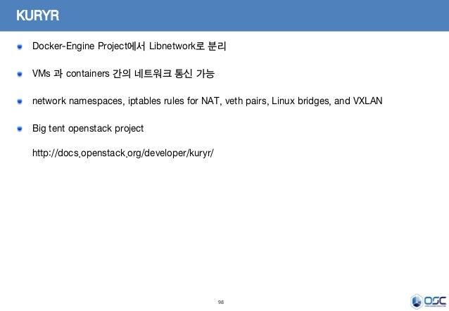 98 KURYR Docker-Engine Project에서 Libnetwork로 분리 VMs 과 containers 간의 네트워크 통신 가능 network namespaces, iptables rules for NAT,...