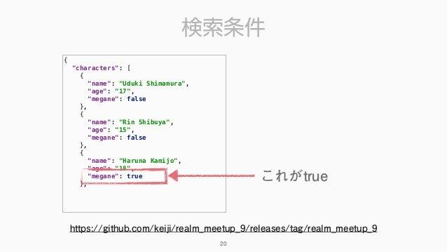 """検索条件 { """"characters"""": [ { """"name"""": """"Uduki Shimamura"""", """"age"""": """"17"""", """"megane"""": false }, { """"name"""": """"Rin Shibuya"""", """"age..."""
