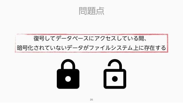 問題点 26 復号してデータベースにアクセスしている間、 暗号化されていないデータがファイルシステム上に存在する
