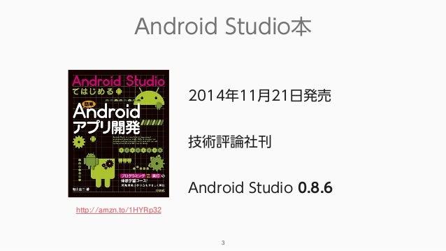 Android Studio本 3 2014年11月21日発売 技術評論社刊 Android Studio 0.8.6 http://amzn.to/1HYRp32
