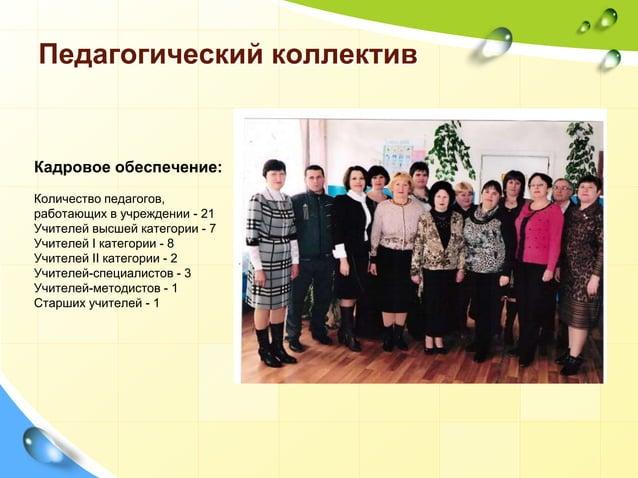 Педагогический коллектив Кадровое обеспечение: Количество педагогов, работающих в учреждении - 21 Учителей высшей категори...