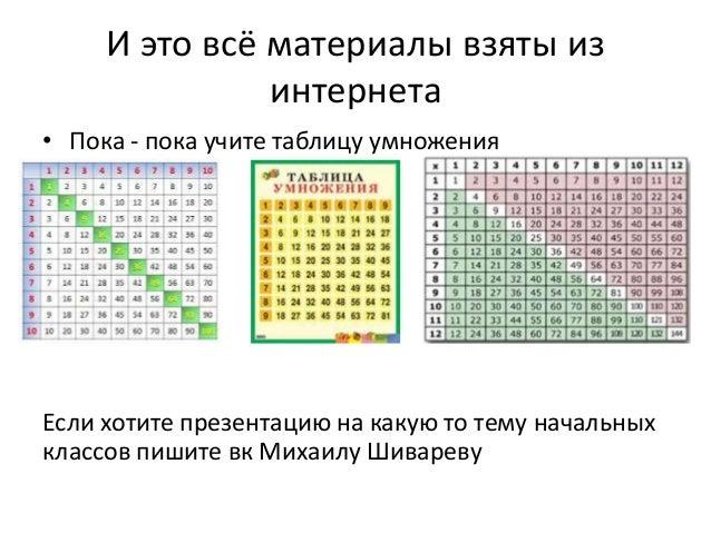 И это всё материалы взяты из интернета • Пока - пока учите таблицу умножения Если хотите презентацию на какую то тему нача...