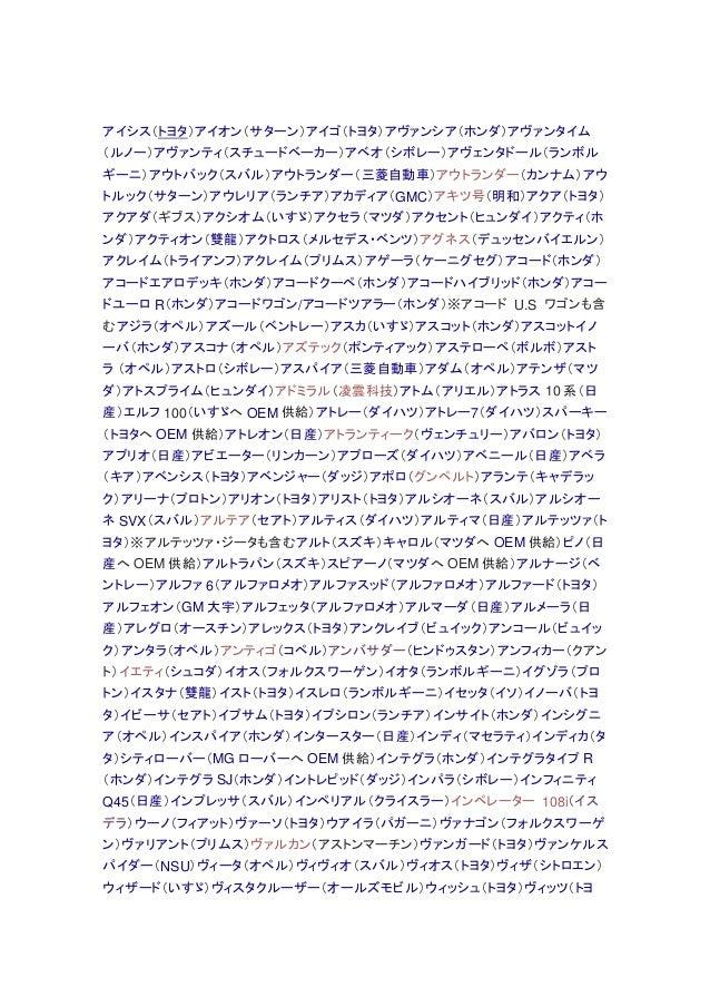 アイシス(トヨタ)アイオン(サターン)アイゴ(トヨタ)アヴァンシア(ホンダ)アヴァンタイム (ルノー)アヴァンティ(スチュードベーカー)アベオ(シボレー)アヴェンタドール(ランボル ギーニ)アウトバック(スバル)アウトランダー(三菱自動車)アウ...