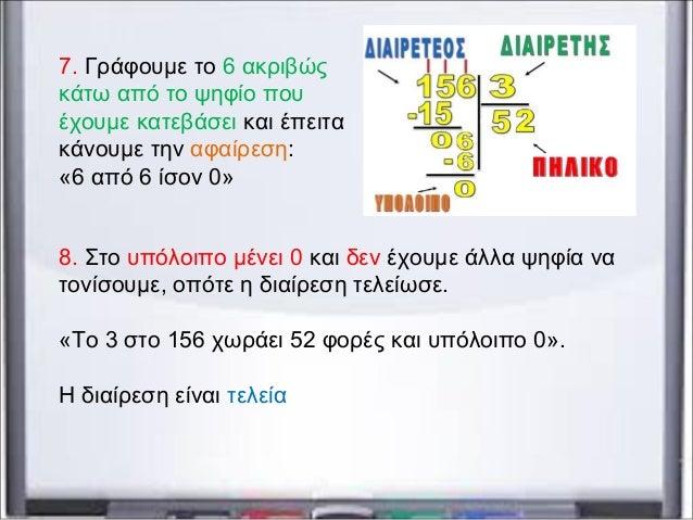 7. Γράφουμε το 6 ακριβώς κάτω από το ψηφίο που έχουμε κατεβάσει και έπειτα κάνουμε την αφαίρεση: «6 από 6 ίσον 0» 8. Στο υ...