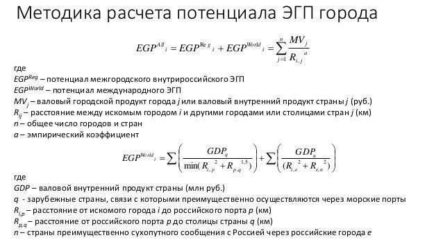Стоимостная оценка экономико-географического положения российских городов Slide 3