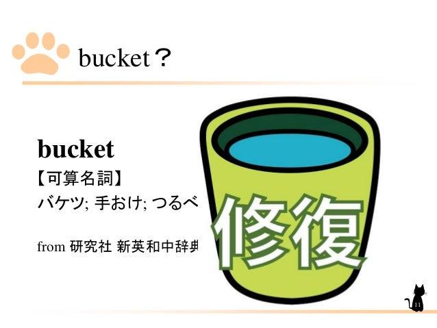 bucket? bucket 【可算名詞】 バケツ; 手おけ; つるべ. from 研究社 新英和中辞典 11