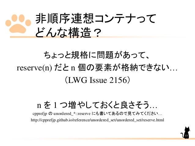 非順序連想コンテナって どんな構造? ちょっと規格に問題があって、 reserve(n) だと n 個の要素が格納できない… (LWG Issue 2156) n を 1 つ増やしておくと良さそう… cpprefjp の unordered_*...