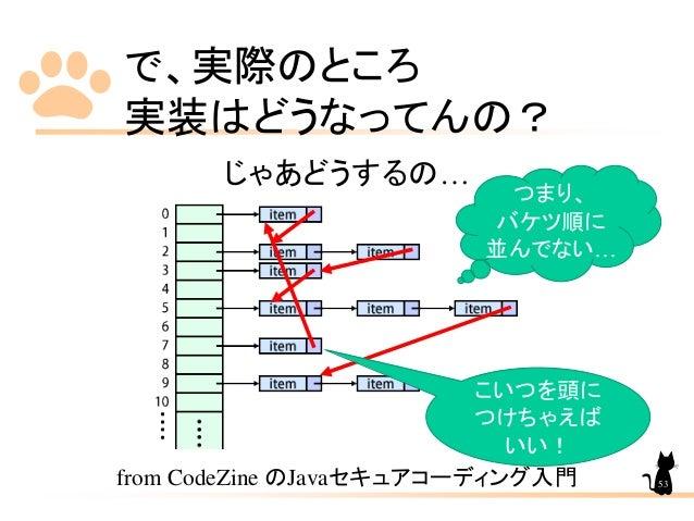 で、実際のところ 実装はどうなってんの? じゃあどうするの… from CodeZine のJavaセキュアコーディング入門 こいつを頭に つけちゃえば いい! つまり、 バケツ順に 並んでない… 53