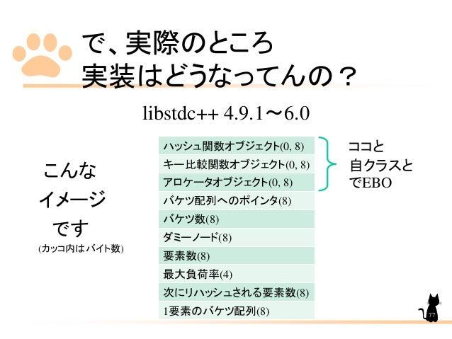 で、実際のところ 実装はどうなってんの? libstdc++ 4.9.1~6.0 こんな イメージ です (カッコ内はバイト数) ハッシュ関数オブジェクト(0, 8) キー比較関数オブジェクト(0, 8) アロケータオブジェクト(0, 8) バ...