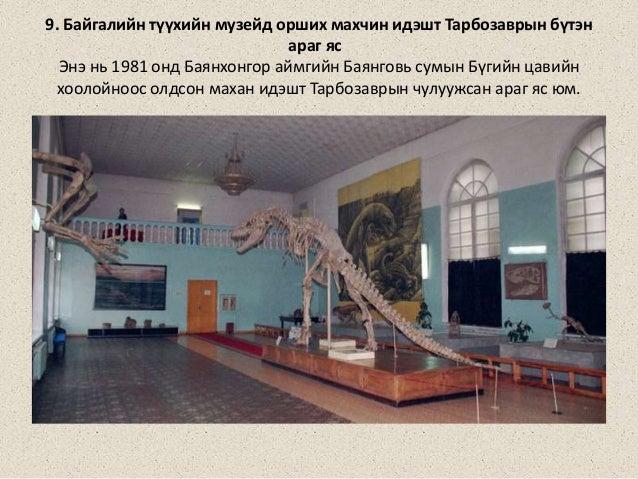 9. Байгалийн түүхийн музейд орших махчин идэшт Тарбозаврын бүтэн араг яс Энэ нь 1981 онд Баянхонгор аймгийн Баянговь сумын...
