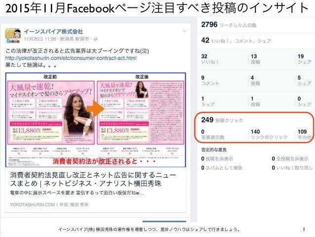 2015年11月Facebookページ注目すべき投稿のインサイト 1イーンスパイア(株) 横田秀珠の著作権を尊重しつつ、是非ノウハウはシェアして行きましょう。