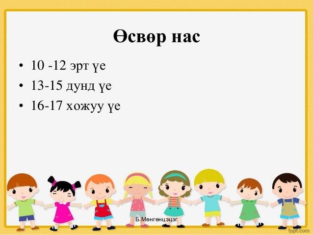 Өсвөр нас • 10 -12 эрт үе • 13-15 дунд үе • 16-17 хожуу үе Б.Мөнгөнцэцэг