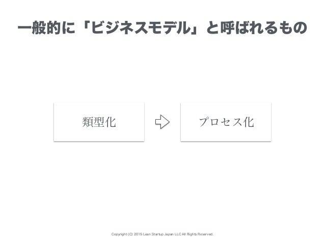 Copyright (C) 2015 Lean Startup Japan LLC All Rights Reserved. 一般的に「ビジネスモデル」と呼ばれるもの プロセス化類型化