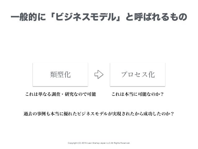 Copyright (C) 2015 Lean Startup Japan LLC All Rights Reserved. 一般的に「ビジネスモデル」と呼ばれるもの プロセス化類型化 これは単なる調査・研究なので可能 これは本当に可能なのか?...