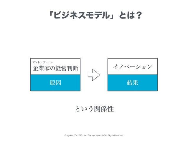 Copyright (C) 2015 Lean Startup Japan LLC All Rights Reserved. 「ビジネスモデル」とは? 企業家の経営判断 イノベーション 原因 結果 という関係性 アントレプレナー