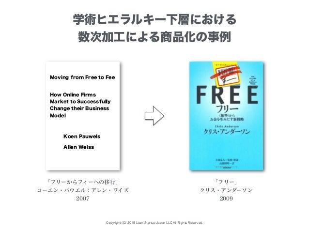 Copyright (C) 2015 Lean Startup Japan LLC All Rights Reserved. 「フリーからフィーへの移行」 コーエン・パウエル:アレン・ワイズ 2007 「フリー」 クリス・アンダーソン 2009...