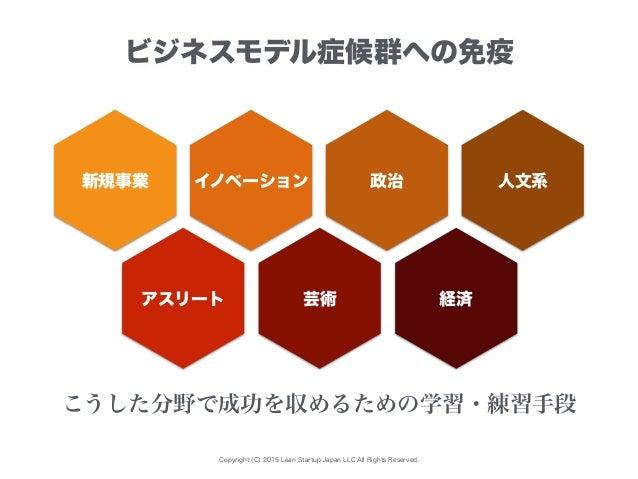 Copyright (C) 2015 Lean Startup Japan LLC All Rights Reserved. ビジネスモデル症候群への免疫 新規事業 イノベーション こうした分野で成功を収めるための学習・練習手段 アスリート 芸...