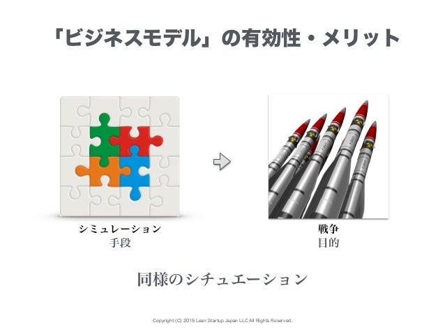 Copyright (C) 2015 Lean Startup Japan LLC All Rights Reserved. 「ビジネスモデル」の有効性・メリット シミュレーション 同様のシチュエーション 手段 目的 戦争