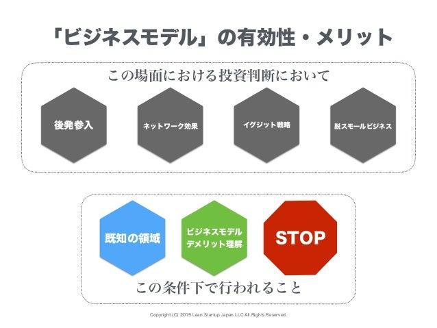 Copyright (C) 2015 Lean Startup Japan LLC All Rights Reserved. 「ビジネスモデル」の有効性・メリット 既知の領域 ビジネスモデル デメリット理解 この条件下で行われること 脱スモール...