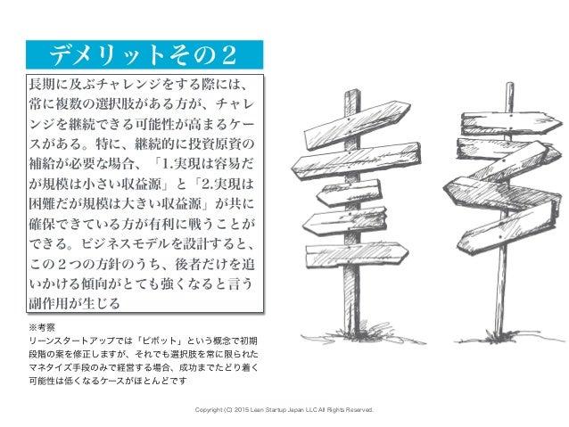 Copyright (C) 2015 Lean Startup Japan LLC All Rights Reserved. 長期に及ぶチャレンジをする際には、 常に複数の選択肢がある方が、チャレ ンジを継続できる可能性が高まるケー スがある。...
