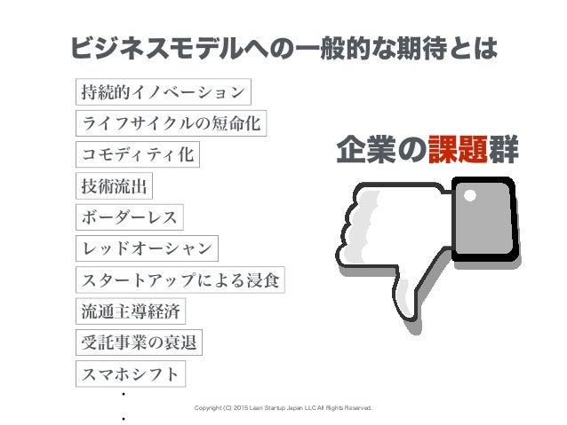 Copyright (C) 2015 Lean Startup Japan LLC All Rights Reserved. ビジネスモデルへの一般的な期待とは 持続的イノベーション レッドオーシャン コモディティ化 流通主導経済 ライフサイク...
