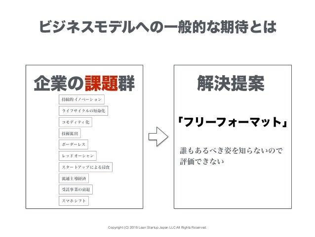Copyright (C) 2015 Lean Startup Japan LLC All Rights Reserved. ビジネスモデルへの一般的な期待とは 企業の課題群 企業の期待群解決提案 持続的イノベーション レッドオーシャン コモデ...