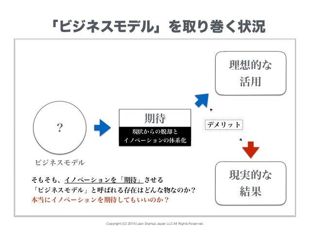 Copyright (C) 2015 Lean Startup Japan LLC All Rights Reserved. 「ビジネスモデル」を取り巻く状況 期待 理想的な 活用 現実的な 結果 デメリット 現状からの脱却と イノベーションの...