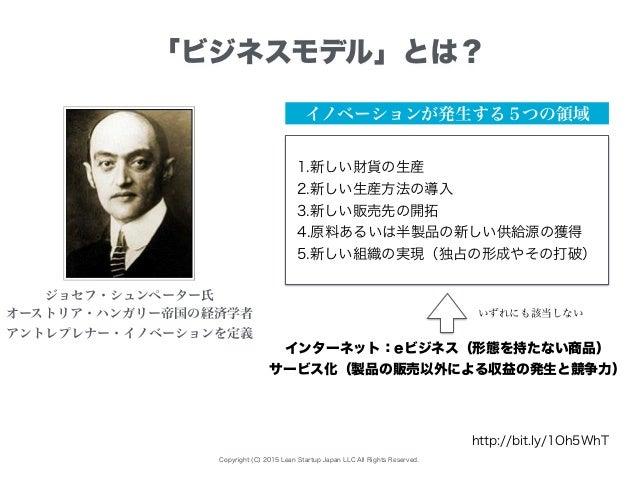 Copyright (C) 2015 Lean Startup Japan LLC All Rights Reserved. 「ビジネスモデル」とは? イノベーションが発生する5つの領域 ジョセフ・シュンペーター氏 オーストリア・ハンガリー帝国...